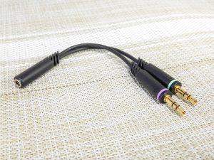 3.5mm 5極(メス)-3.5mmステレオミニ(オス)+マイク入力(オス)変換ケーブル