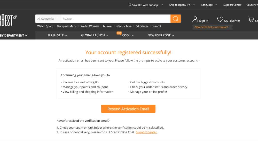 「Your account registered successfully!」と表示される