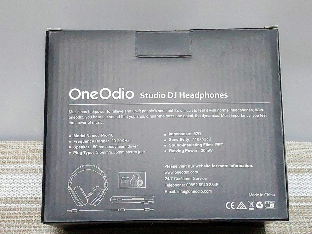 『OneOdio Pro-10』パッケージ裏