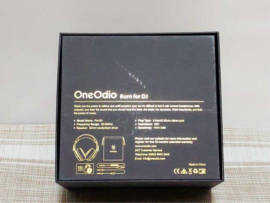 OneOdio Pro-50 パッケージ裏