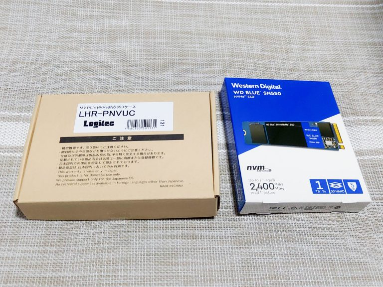 WD Blue™ SN550 NVMe™ SSDとケース取り付け